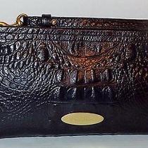 Beautiful Authentic Brahmin Black Croc Melbourne Leather Clutch With Wrist Strap Photo