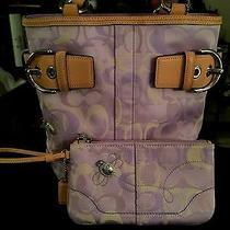 Beautiful  Authentic  Coach  Optic Purple  Tote / Purse /handbag & New Wristlet  Photo