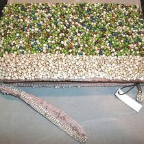 Beautiful Beaded Glass Zippered Wristlet Bag - Lime Green Cream Aqua & Bronze Photo