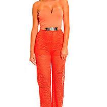 Beautiful Belted Orange Jumpsuit Size Medium Bebe Forever 21 Photo