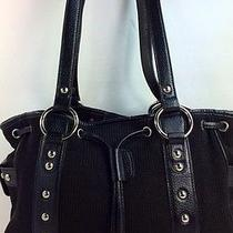 Beautiful Black Cotton Woven Leather With Silver Studs Tote Made by