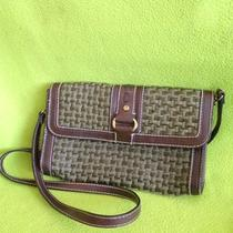 Beautiful Braded Design Fossil Clutch  Brown/ Olive Green Ladies Handbag Photo