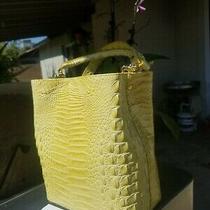 Beautiful Brahmin Yellow Amelia Melbourne Croc Embossed Leather Handbag Purse.  Photo
