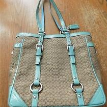 Beautiful Brand New Never Used Authentic Coach Brown & Turquoise Purse  Photo