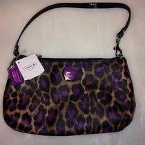 Beautiful Brand Nwt Coach Ocelot Leopard Purple/violet Large Wristlet 50066  Photo