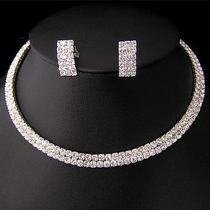 Beautiful Bride Swarovski Crystal 2 Row Necklace Earring Set Photo