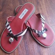 Beautiful Brighton Ofelia Zebra/red Leather Flats Sandals 6.5 M Rare Unique Pair Photo