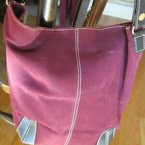 Beautiful Burgundy Genuine Suede Tote Purse Duffle Hobo Shoulder Bag New W/tags Photo