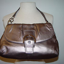 Beautiful Champagne Gold Leather Coach Shoulder/ Handbag Very Good Condition  Photo