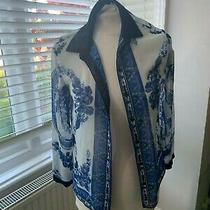 Beautiful China Blue and Black Long Sleeved Shirt/blouse Button Cuffs Size 6 Photo