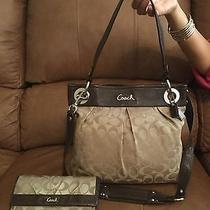 Beautiful Coach Ashley Signature Print Hobo Bag & Matching Wallet 506 Photo