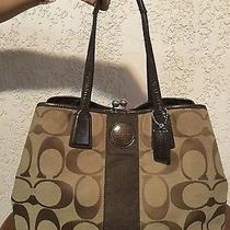 Beautiful Coach Bag Brown Signature Stripe Kisslock Carryall Satchel Photo