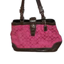 Beautiful Coach Cloth and Leather Handbag Tote Purse  Photo