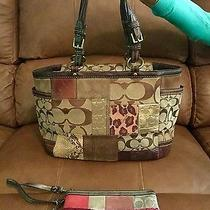 Beautiful Coach Signature C Gallery Holiday Patchwork Tote Matching Wallet Photo