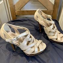 Beautiful Coach Tan W/ Silver  Metallic High Heel Sandals 7m   Worn 2x Photo