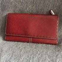 Beautiful Deep Red Leather Ladies Fossil Checkbook Wallet Photo