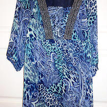 Beautiful Elements Xl Embellished  Artsy Print Tunic (Different Shade of Blues) Photo