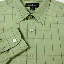Beautiful Ermenegildo Zegna Green With Wine Plaid Cotton Shirt M 15.5x32 Photo