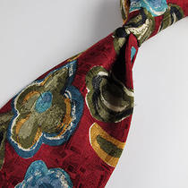 Beautiful Ermenegildo Zegna Red Silk Tie W/ Aqua Blue Flowers  Photo