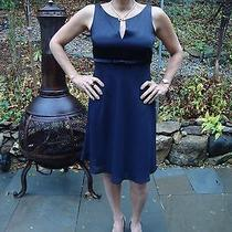 Beautiful Euc Black Laundry Dress Size 6 Plus Gold Tone Earrings and Necklace Photo