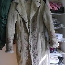 Beautiful Express Embroidered 100% Suede Leather Sherpa Beige Coat Size M Photo