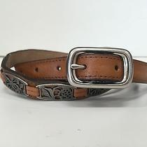 Beautiful Feminine Fossil Leather Belt With Unique Hardware Detail Photo