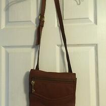 Beautiful Fossil Genuine Leather Brown Cross Body Purse With Fossil Key Photo