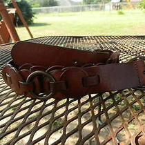 Beautiful Fossil Hippie Boho Brown Leather Belt Size Medium  Photo