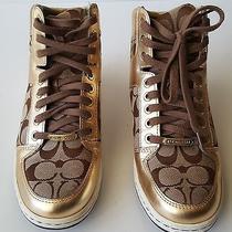 Beautiful Gold Coach High Top Tennis Shoes Size 7 1/2 Photo