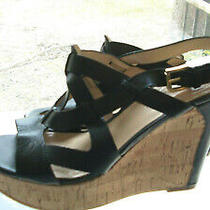 Beautiful Guess Black Strappy Cork High Wedges - Size 8m  Photo