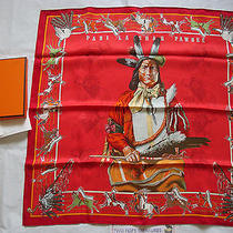 Beautiful Hermes Pani La Shar Pawnee Indian Chief Silk Scarf W/box 70cm France  Photo