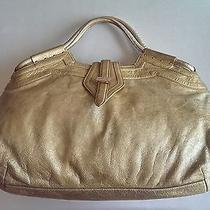 Beautiful High-End Botkier Metallic Frosted Gold Tone Large Leather Handbag Photo