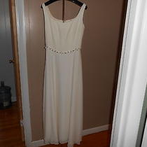 Beautiful Ivory Kay Unger Long Sleeveless Lined Dress W Silk Roses Sz. 6-Wedding Photo