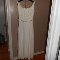 Beautiful Ivory Kay Unger Long Sleeveless Lined Dress W Silk Roses Sz. 6-Wedding Photo