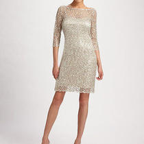 Beautiful Kay Unger Lace Dress - Silver/ Nude Size 6 Perfect for Wedding / Party Photo