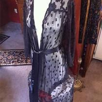 Beautiful Lace See Through Natori Black Long Robe Size M Photo
