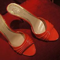 Beautiful Lacquered Coral Color Sandals by Elie Tahari 37 1/2 (Size 6) Photo