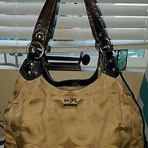 Beautiful Large Coach Handbag With 3 Compartments Leather Trim Original C Signat Photo