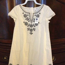 Beautiful Linen Gap Dress W/black Embroidery Girls Size l(10) Nwt  Free Ship Photo