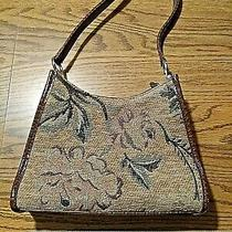 Beautiful Liz Claiborne Brown / Tan Purse Handbag Shiny Gold Clean See Pics Photo
