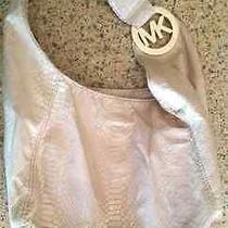 Beautiful Michael Kors Blush Pink Purse (Snakeskin Look) W/ Bonus Storage Bag  Photo