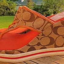 Beautiful Mint Coach Coral Wedge Sandals Logo Sz 8.5 Photo