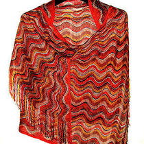 Beautiful Missoni Scarf Wrap W/fringe Bright Colors Main Red & Italy Photo