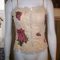 Beautiful New Charlotte Russe Soft Beige Wt Sparkling Floral & Net Corset Sz S Photo
