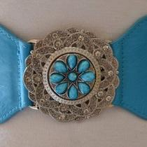 Beautiful New Vintage Style Rhinestone Jeweled Flower Cinch Waist Aqua Blue Belt Photo