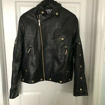 Beautiful Nwt  Black Versace Jeans Couture Leather Jacket Size Small Photo