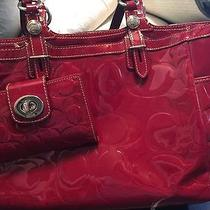 Beautiful Patent Red Leather Authentic Coach Purse & Wallet - Excellent Cond. Photo