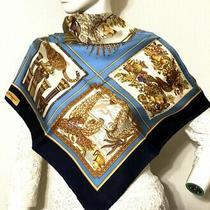 Beautiful Salvatore Ferragamo Leopard Scarf 100% Silk 90cm Blue 4017 Photo