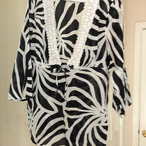 Beautiful Size 10 Inc.. Black/white Cotten Sheer Top-Barely Worn-Soo Cute... Photo