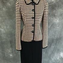 Beautiful St John Collection Jacket Beige Black Knit Suit Blazer Size 2 Photo